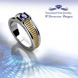 14K YELLOW AND WHITE GOLD WITH 1/2 SAPPHIRE