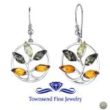 Baltic Amber Tree Dangle Earrings Sterling Silver Multiple Color