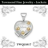 Sterling Silver Rhodium-plated & Gold-tone Floral Mom Heart Locket