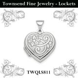Sterling Silver Rhodium-plated 15mm Patterned Heart Locket Pendant