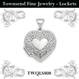 Sterling Silver Rhodium-plated Polished Fancy Scroll 15mm Heart Locket