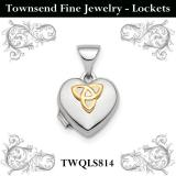 Sterling Silver Rhodium-plated & Gold-tone Celtic Knot Heart Locket
