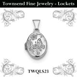 Sterling Silver Rhodium-plated Butterfly Oval Locket