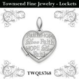 Sterling Silver Rhodium-plated Faith Hope Love Heart Locket