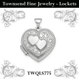 Sterling Silver Rhodium-plated Polished 2-Heart Design 18mm Heart Locket