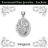 Sterling Silver Rhodium-plated Oval Floral Locket