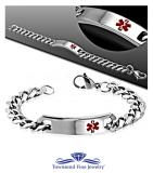 10MM - 8.0'' Stainless Steel 2-tone Medical Alert ID Watch-Style Cuban Curb Link Bracelet