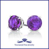 14K GOLD ROUND AMETHYST STUD EARRINGS