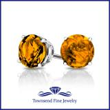 14K GOLD ROUND CITRINE STUD EARRINGS