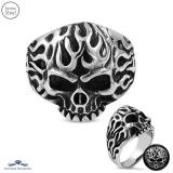 Stainless Steel 2-tone Flaming Ghost Skull Biker Ring