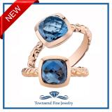 14k Rose Gold London Blue Topaz Cushion Cut Woven Solitaire Dome Ring