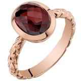 14k Rose Gold Garnet Cupola Solitaire Dome Ring (3.00 carat)