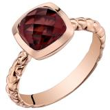 14k Rose Gold Garnet Cushion Cut Woven Solitaire Dome Ring (2.50 carat)