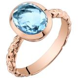 14k Rose Gold Swiss Blue Topaz Cupola Solitaire Dome Ring (2.50 carat)