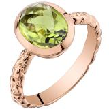 14k Rose Gold Peridot Cupola Solitaire Dome Ring