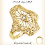 10K Yellow gold with 2.0 mm Round Diamond Filigree Ring