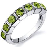 7 Stone 1.75 Carats Peridot Band Sterling Silver Ring