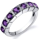 7 Stone 1.75 Carats Amethyst Band Sterling Silver Ring