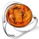 Amber Swirl Ring Sterling Silver Cognac Large Round